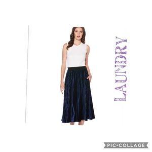 laundry by SHELLI SEGAL Velvet Pleated Midi Skirt